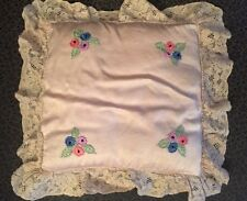 Vintage Art Deco Silk BOUDOIR PILLOW Tambour Lace Embroidered Flowers Pale Pink