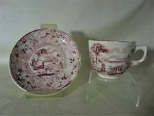 Antique Childs Toy Cup And Saucer Red Maroon Transfer Rhine Style Pattern 1870