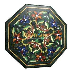 12'' Green Marble Coffee Table Top Multi Handmade Floral Inlay Home Decors B127
