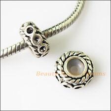 4 Rubber Stopper Round Tibetan Silver Beads fit European Charm Bracelets 12mm