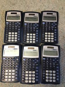 Lot 6 TEXAS INSTRUMENTS TI-30XIIS Handheld Solar Graphing Calculator school math