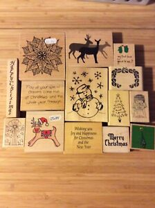 Bundle Of Xmas Wooden Stamps , Some Used Some Not (2)