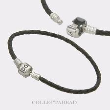 "Authentic Pandora Silver Single Black Leather 6.9"" Bracelet 590705CBK-S1"