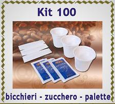 Kit accessori x 100 caffè LAVAZZA o NESPRESSO :bicchierini +zucchero +palettine
