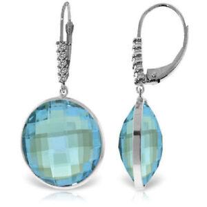Genuine 46.15 ctw Blue Topaz Gemstone & Diamonds Dangle Earrings 14K Solid Gold