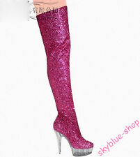 Womens Glitter Sequins Crystal Platform High Heel Clubwear Over Knee High Boots