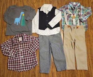 Toddler Boys 2T Christmas Outfits Pants Shirts Vest Set Gap Gymboree