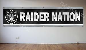 Oakland Raiders Banner Flag 2X8Ft Raider Nation Large Banner Flag NFL Man Cave