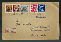 1953 Berlin East Germany DDR Airmail Cover to USA Multi Franked karl marx