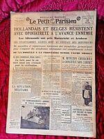 Journal du 12 mai 1940-LE PETIT PARISIEN-Hollandais et Belges résistent...cadre