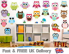 Cute Owls - Pack of 20 - Wall Art Vinyl Stickers - Animal Birds Transfers Decals