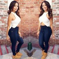 Womens Pencil Stretch Casual Denim Skinny Jeans Pants High Waist Jeans Trousers