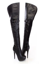 Black Thigh High Sexy Stiletto Heel Strappy Platform Boots, US Size 6