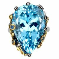 Handmade Pear Sky Blue Topaz 24.89ct Blue Sapphire 925 Sterling Silver Ring 6.5