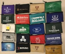 "LOT OF 10 Zippered Money Logo SMALL Bank Bags Pouches 5""x3.5"" Mixed Lot"