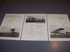VINTAGE..RAF FE2B AIRCRAFT ...3-VIEWS/SPECS/DETAILS/STRUCTURE..RARE! (582S)