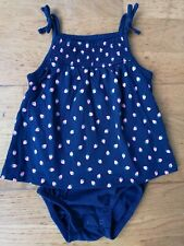 Carter's Dress Playsuit 12 Months blue strawberries NWD
