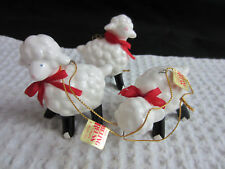 1984 Ebeling & Reuss 3 pc lot ceramic lambs all different Christmas ornaments