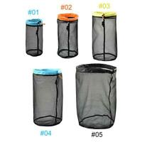 Outdoor Mesh Stuff Sack Ultralight Camping Sport Drawstring Storage Fishing Bag
