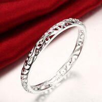 Stunning 925 Sterling Silver Filled 7MM Lovely Hollow Filigree Bracelet Bangle