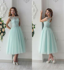 2017 Tea Length Mint Green Bridesmaid Dresses Robe Demoiselle D'honneur Lace