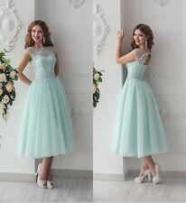 2018 Tea Length Mint Green Bridesmaid Dresses Robe Demoiselle D'honneur Lace