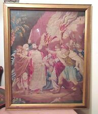 large antique hand sewn embroidered religious Jesus biblical needlepoint icon