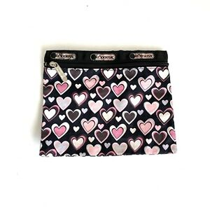 LESPORTSAC Black Pink Heart Print 7x8.75 Silver Zippered Pouch