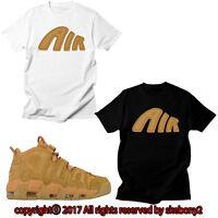 NEW CUSTOM TEE Nike Air More Uptempo matching T SHIRT UTP 1-11-5 FLAX