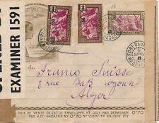 Lettre Entier TSF Contrôle Postal Fort Dauphin pour Alger Cover Madagascar