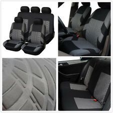 Set Auto Car Front + Rear Seat Cover Cushion Protector Black + Gray Four Seasons