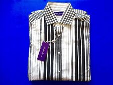 New Ralph Lauren Purple Label Italy Cotton Black White Striped Dress Shirt sz L