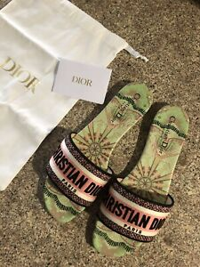New Authentic Dior Dway Slides Green / Pink Embroidered Cotton Size 39