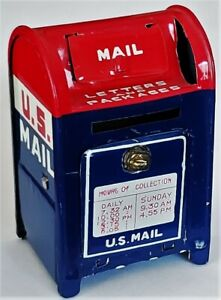 "2.5"" Tin Miniature US Mailbox Enamel Metal Mail Box Roll Postage Stamp Dispenser"