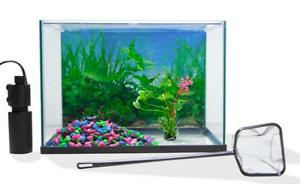 20Lt Aquarium Fish Tank Complete Set Includes Tank Filter Pump Pebbles Plant Net