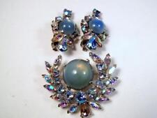 Luscious! JOMAZ Mazer Blue Cabochon & Aurora Borealis Rhinestone Pin & Earrings