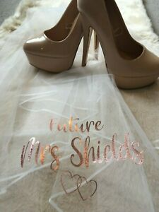 Personalised Future Mrs (Your Name) hen party veil - bride, bridal - rose gold p