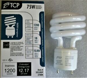 TCP 33118SP 18W (75W Equal) 2700K Soft White GU24 Twist Spiral CFL Light Bulb