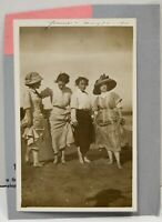 1911 Young Women Victorian Beach Showing Legs RPPC Photo Postcard Antique Vtg