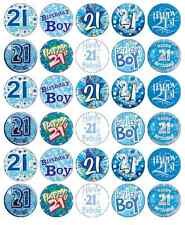 30 x 21st Birthday Boy Blue Cupcake Toppers Edible Paper Fairy Cake Topper