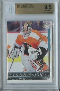 Carter Hart 2018 19 UD upper deck young guns #491 flyers RC rookie BGS 9.5