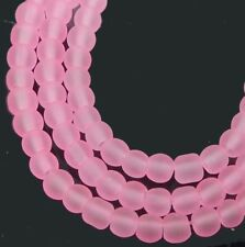 100 Czech Frosted Sea Glass Round / Rocaille Beads Matte - Pearl Pink 4mm