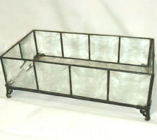 Vintage Etched Beveled Glass Vanity Jewelry Tray Container Silverplate Frame