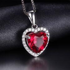 Colgante Rubi creado corazón Zircón 3.76ct. Pura plata S925. Joyeria fina Amor
