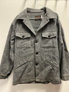 Pendleton Gray Tweed Wool Top Coat Size M Men's Burton Pockets Winter Jacket