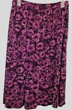 JACLYN SMITH M purple floral poly/spandex wrap-look print skirt modest EUC