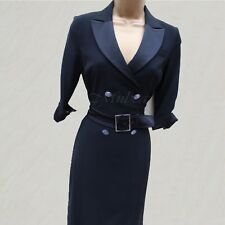 Exquisite KAREN MILLEN Black Tuxedo Cocktail Shirt Style Pencil Dress 10 UK 38