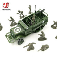 1:72 M3 Half Track Military Armored Vehicle Assembly Model +10Pcs Soldiers Model