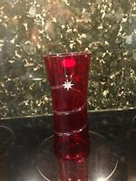 "Ruby Red/Clear Accents WITH Silver Star Teleflora Hurricane Candle Shade-7.5""x3"