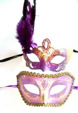 MASQUERADE HIS & HERS HEN & STAG PARTY PURPLE FEATHER & GENTS HALF MASK NEW